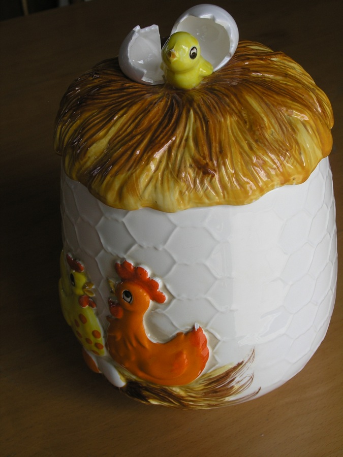 Vintage ceramic cookie jar sears roebuck co chick nest - Ceramic rooster cookie jar ...